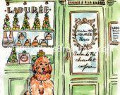 Paris Dogs by Carol Gillott.  Carol did a watercolor of my Mindy in Paris.
