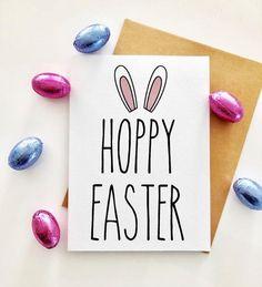 Easter Puns, Hoppy Easter, Easter Messages, Pun Card, Food Puns, Card Drawing, Easter Card, Cards Diy, White Envelopes