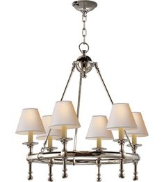 Visual Comfort E.F. Chapman Classic 6 Light Chandelier in Polished Nickel SL5814PN-NP #lighting - Dinning 25""