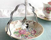 Vintage jam / jelly / preserve / relish dish with pretty embossed chrome handle and matching spoon: ideal for a tea party