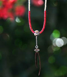 BIBI EVIL EYE CHARM CHOKER  #red #beads #leather #necklace #jewels #bali #boho
