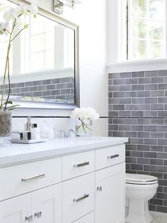 Sometimes #subway #tile is the best way to make a big statement in a small #bathroom