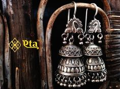 Silver Oxidised Peacock Jhumka | Buy Eta Jewels Designer Handcrafted Silver Jewelry Online