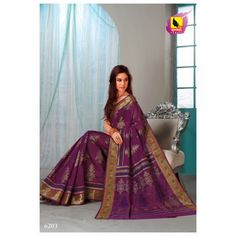 Saree in Purple Colour in Cotton. Exotic Border and  Machine Embroidery. 6203 - Online Shopping for Cotton Sarees by Muhenera