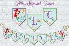Little Mermaid Under The SEA Banner Flags Digital by BolleBluParty $10.90 - only etsybolle@gmail.com