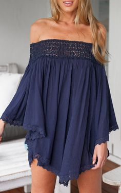 Navy off shoulder gauzy dress