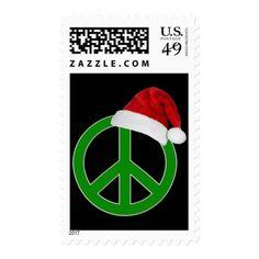 Retro Christmas Peace Sign Postage