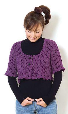 Crochet Bolero. Free written pattern in English (no charts):  http://gosyo.co.jp/english/pattern/eHTML/ePDF/1003/29-210-21_Bolero.pdf