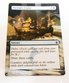 MTG Altered Painted Treasure Cruise Khans of Trokir #WizardsoftheCoast