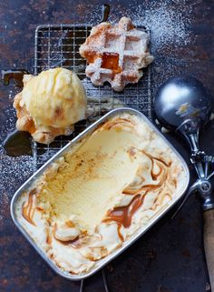 Ginger Ice Cream with Ginger Caramel Swirl