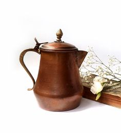 Antique Copper Coffee Pot Vintage Copper by millyscollection