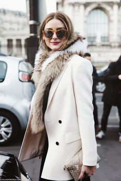 This is an image of Olivia Palermo at Paris Fashion Week in the last yew years. She is wearing a fur shall today that represents a style shows to us back in the Paired with a pea coat of the time making this a modern day outfit, resembling a old trend. Fashion Mode, Look Fashion, Street Fashion, Womens Fashion, Fashion Trends, Paris Fashion, Net Fashion, Trendy Fashion, Fashion Music