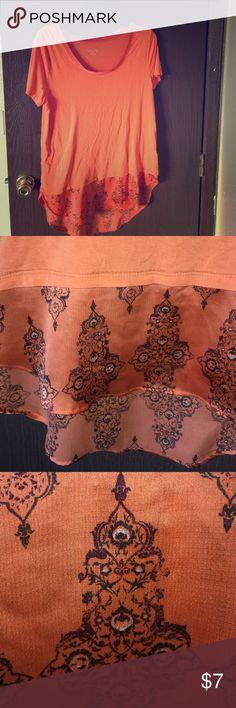 Orange blouse with detailing Scoop neck. Beautiful detailing on bottom Merona Tops Blouses