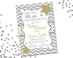 2 WAYS TO ORDER: Invitation design only - YOU print! Invitation design + printing package - WE print!  If you would like to have us print, the add on printing packages can be found here:  https://www.etsy.com/shop/BeccaLeePaperie?section_id=12842074&ref=shopsection_leftnav_2   This listing is for a 5 x 7 digital invitation file! Please be sure to read through all of the details in this listing. Most questions are answered here!  PLEASE NOTE: The glitter stars...