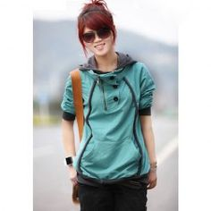 $10.78 Stylish Hooded Long Sleeves Color Match Buttons Decoration Cotton Blend Hoodie For Women