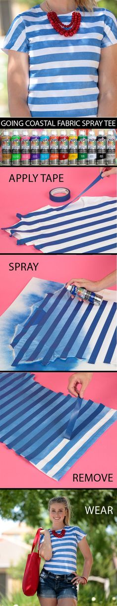 This breezy striped tee can be made in minutes using masking tape and of course Tulip ColorShot Instant Fabric Color!