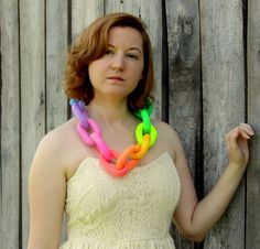 Felt Necklace. Pastel Neon Rainbow Necklace by HandiCraftKate, $60.00