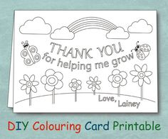 Sensational ideas coloring thank you cards personalized teacher card by veryfairygood from kids for teachers free printable Teacher Valentine Cards, Teachers Day Greeting Card, Teacher Birthday Card, Teacher Thank You Notes, Free Valentine Cards, Teacher Appreciation Cards, Teacher Cards, Teacher Gifts, Printable Thank You Cards