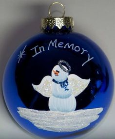 Memorial Angel Christmas Ornament by HeirloomsByTLH on Etsy Merry Christmas, Painted Christmas Ornaments, Hand Painted Ornaments, Christmas Balls, Christmas Angels, Christmas Holidays, Christmas Decorations, Lightbulb Ornaments, Clear Ornaments