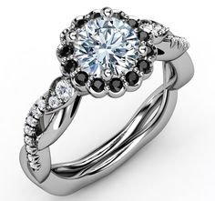 Black Diamond Halo Engagement Ring Twisted Pave Band in White Gold
