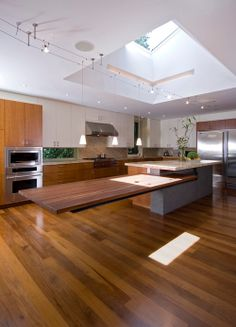 Kitchen islands with tables attatched