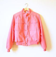 Bubblegum Pink Vintage Bomber Jacket / Pink Puffer Coat / 80s Vintage Ski Jacket by thehappyforest on Etsy
