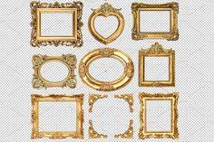 9 Golden frames transparent PNG by LiliGraphie on @creativemarket
