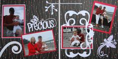 Scrapbook Page - At the Beach with Baby - 2 page layout with butterfly from Everyday Life Album 13