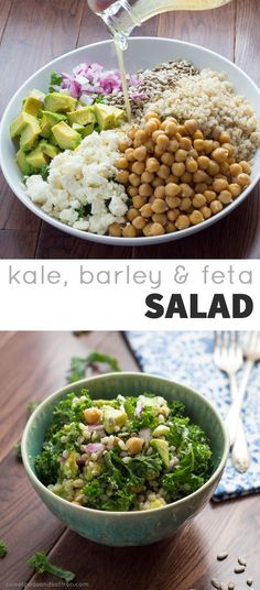 Kale, Barley, Feta, Chickpeas, Avocado, Sunflower Seeds and Red Onion are tossed in a tangy Honey-Lemon Vinaigrette. @sweetpeasaffron