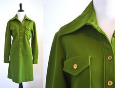 Fab avocado or olive green knit shirt dress made by Verona Knits in the 1970s. Crisp, tailored style with a distinct military or safari style.