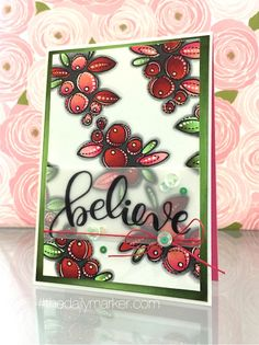 """We love the way Kathy colored these cute holly berries on the background of her card! Simon Says Stamp """"Believe in the Season"""" winter release."""