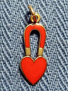 Love Magnet Heart Vintage 1940s 14k Gold with Red Enamel Fine Charm ((tiny !!)