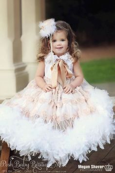 Little Mini My Sunshine Rosette Girls Feather Dress