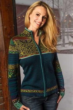 Wool blend cardigan in gorgeous Icelandic traditional patterns. Intricately layered is shades of neutrals or green teal. Strong zipper opening, beautiful finish, and quality. Even hidden zipper pocket Fair Isle Knitting Patterns, Sweater Knitting Patterns, Knitting Designs, Warm Outfits, Cool Outfits, Norwegian Knitting, Icelandic Sweaters, Wool Blend, Sweater Cardigan