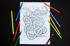 Happy Snakes Coloring Page by apolinarias on @creativemarket