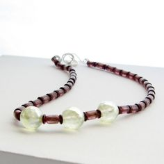 Celery and Maroon Czech Glass Handmade Necklace by GalleriaLinda
