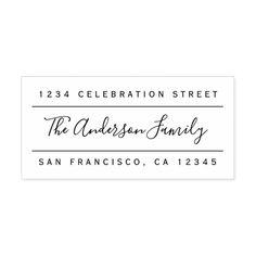 Custom Family Name | Modern Return Address Rubber Stamp #personalized #rubberstamps Custom Rubber Stamps, Logo Vintage, Wood Stamp, Self Inking Stamps, Monogram Logo, Return Address, Swirls, Gift Tags, Names