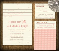 Vintage Library Card Wedding Invitation DIY Set by HermiasWishes, $30.00