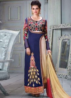 Amazing Blue And Cream Silk Long Anarkali Suits