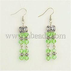 [US $28.54]LightGreen Glass Earrings(EJEW-JE00742-02) - New Arrival Tibetan Style Earrings, With Glass Beads And Brass Earring Hooks, LightG...