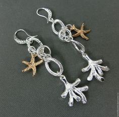 """Купить Серьги """"Кораллы, морская звезда"""" серебро 925 пробы, морской стиль - разноцветный"""