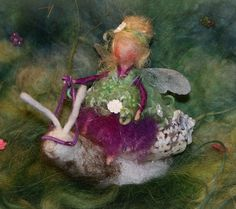 "tiny Fairy 3.5"" with her snail friend by FairyfeltbySiSo on Etsy"