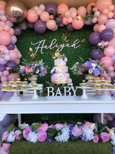 Baby Girl Shower Themes, Girl Baby Shower Decorations, Baby Shower Gender Reveal, Butterfly Theme Party, Butterfly Baby Shower, Shower Party, Baby Shower Parties, Girl Birthday Decorations, Baby Shower Cupcakes