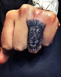 Lion Finger Tattoo For Men