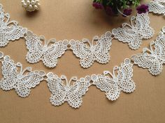 SALE White Lovely Butterfly Lace Trim Venice Lace Butterfly Appliques for Your Fashion DesignItems similar to SALE wedding buterfly, bridal butterfly hair clip, lace butterfly jewelry on Yard- 2014 New Off White Butterfly Lace Trim, Red Lace Tr Crochet Butterfly Pattern, Crochet Flowers, Crochet Patterns, Col Crochet, Irish Crochet, Sewing Crafts, Diy Crafts, Ribbon Headbands, White Butterfly