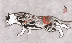 Meet Kazuaki Horitomo - a California-based Japanese artist that has two great passions in life - cats and tattoos. The artist decided to combine the two and great new project was born - Monmon Cats.