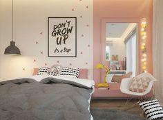 chambre fille rose pastel avec fauteuil design et drôle de déco murale