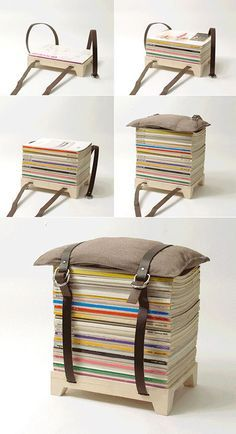 A magazine stool--this is something I could make, too. Magazines, comic books (well, the cheap ones that I don't display, at least), etc...