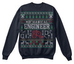 Mechanical Engineer   Christmas Sweater French Navy Sweatshirt Front