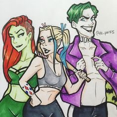 "al-pal55: ""Harley Quinn, Poison Ivy and the Joker based off burnbadart's (on Instagram) designs, I love these so much I just had to draw these myself """